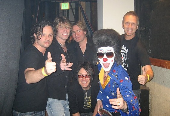 Clownvis Presley with his biggest fans, the Goo Goo Dolls.