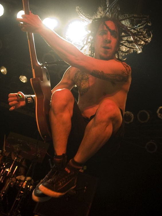 Eric Melvin of NOFX on the Pop's stage on Saturday night. See a full slideshow of NOFX at Pop's. - PHOTO: JON GITCHOFF
