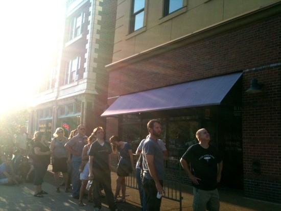 FANS LINE UP IN THE ST. LOUIS BAKE OVEN FOR MY MORNING JACKET. PHOTO BY ROBIN WHEELER