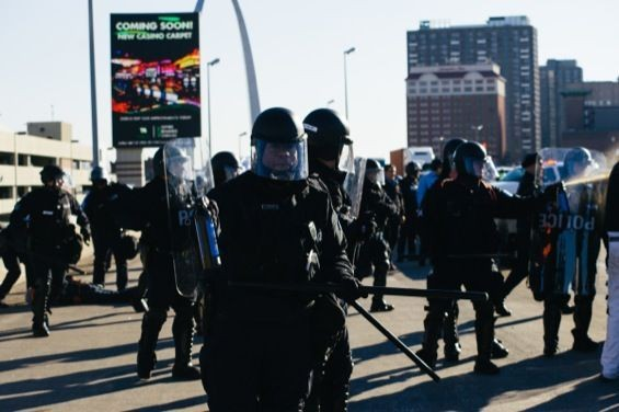 Riot police on the streets of St. Louis. - BRYAN SUTTER