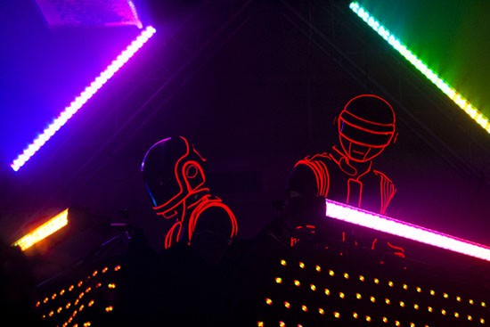 The Daft Punk impersonators last night at 2720 Cherokee. - ALL PHOTOS BY NICHOLAS ZARAGOZA FOR THE RFT.