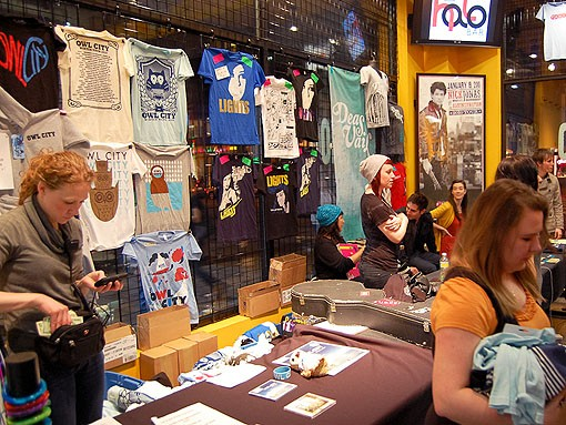 Owl City and Lights merchandise inside Suite 100, adjacent to the Pageant. - PHOTO: JASON STOFF