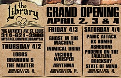 Click for a larger version of the grand opening weekend's line-up. The venue may have a soft opening as early as Friday.