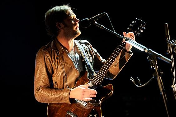 Kings of Leon's Caleb Followill at the Verizon Wireless Amphitheater. More photos here. - TODD OWYOUNG