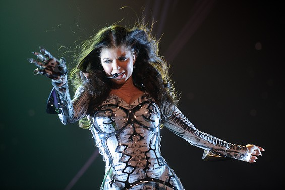 Fergie from Black Eyed Peas, last night at the Scottrade Center. More photos here. - TODD OWYOUNG