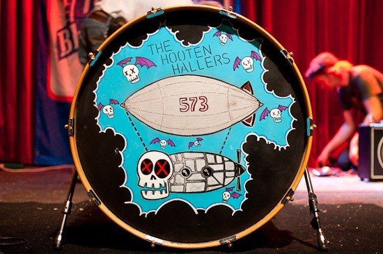 Andy Rehm's (of the Hooten Hallers) bass drum. He paints and designs most of the band's artwork and posters.