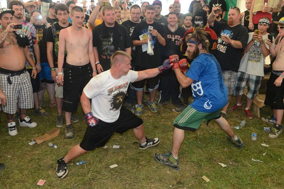 """On the right is Nebraska, a juggalo boxer facing his opponent from Arkansas. - NATE """"IGOR"""" SMITH"""