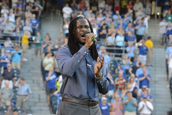 "Maurice Roper belts out ""The Star-Spangled Banner"" during a Kansas City Royals game. - COURTESY OF MAURICE ROPER"