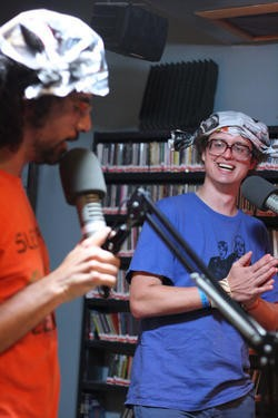 Rob Severson performs at 88.1 KDHX with The Lord of the Yum Yum from Chicago. - PHOTO BY MABEL SUEN.