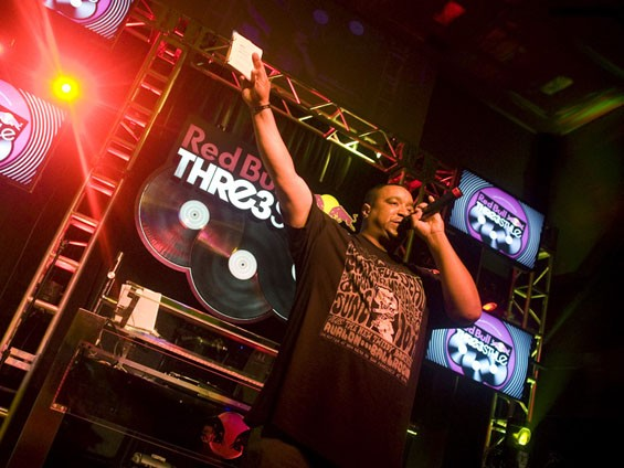 Charlie Chan, acted as emcee to the battle. Here it kicks off the competition. See more photos from the Redbull Thre3style competition last night. - JON GITCHOFF