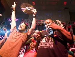 DJ Mahf last night at the Old Rock House after winning the competition. See more photos here. - JON GITCHOFF