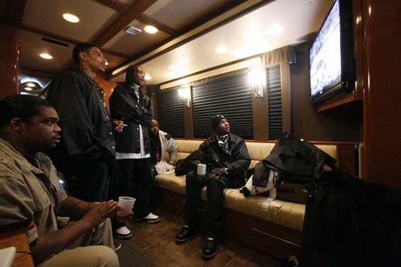 Wish Bone, Layzie Bone, Krazyie Bone, security guard Buck Echols and Flesh-n-bone watch the Cavaliers game in their tour bus before the show. Bizzy Bone was not here for this show.  See full slideshow here. - PHOTO: NICK SCHNELLE