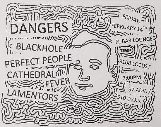 Flyer for the Dangers show February 14.
