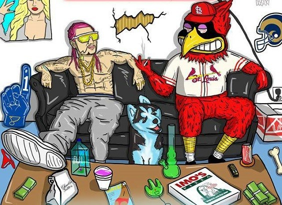 Fredbird burns one down with his good pal Riff Raff. - ART BY @_JAKEREEDER