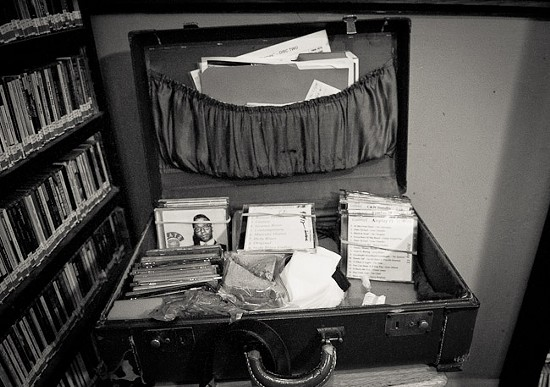 Gabriel's suitcase. He used to bring two, but now brings all of his CDs to play on-air in one. - BRIAN HEFFERNAN