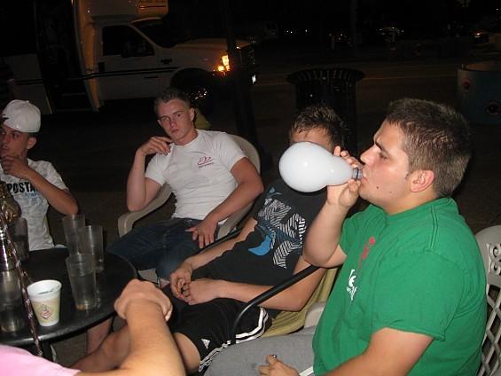 A Petra patron blowing a smoke bubble. - DIANA BENANTI