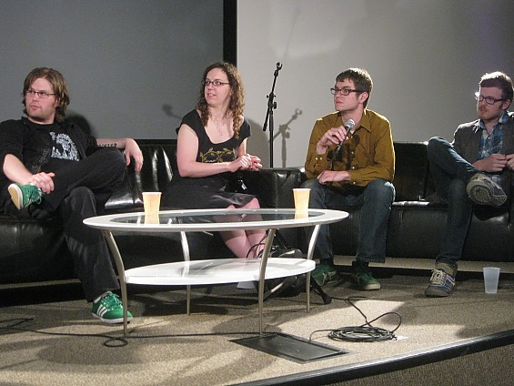 Mike Cracchiolo, Annie Zaleski, Ryan Wasoba and Matt Strom were the panelists at last night's State of the Music Scene discussionvThursday at the Luminary Center for the Arts. - DIANA BENANTI
