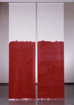 An example of Prina's work: Blind No. 1, Fifteen-foot Ceiling or Lower, 2007, acrylic on linen, window-blind mechanism - LOTHAR SCHNEPF/VES.HARVARD.EDU