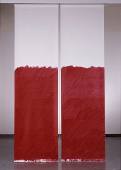 An example of Prina's work: Blind No. 1, Fifteen-foot Ceiling or Lower, 2007, acrylic on linen, window-blind mechanism - LOTHAR SCHNEPF/VES.HARVARD.EDU