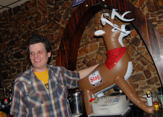 EL LENADOR BARTENDER AND TALENT BUYER JOHNNY VEGAS IN SIMPLER TIMES FOR STAG NITE. PHOTO BY MEGAN GILLILAND
