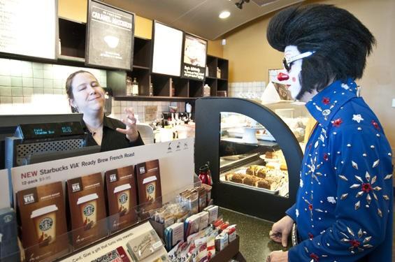 Even Clownvis needs caffeine. - SCOTT LAYNE