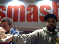 DJ MAHF AND STEDDY P AT SMASHBURGER. PHOTO BY ERIC FARLOW