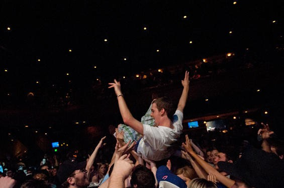 SLIGHTLY STOOPID CROWD SURFER. PHOTO BY JON GITCHOFF