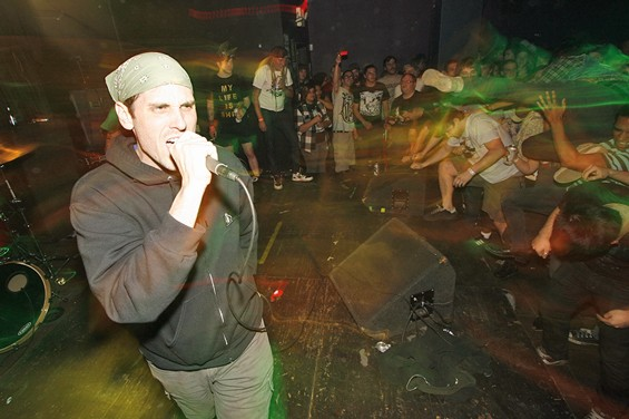 Rob Ruzicka, who fronts hardcore-punk band Cardiac Arrest, on Saturday night during the band's set at Fubar. Ruzicka booked the show for his birthday.
