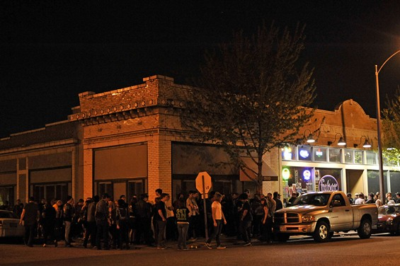 Outside Fubar on Saturday night, as fans filed into the club.