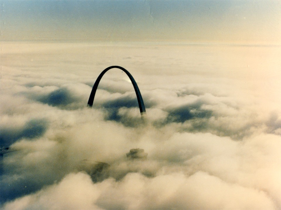 Allen Barklage himself shot this image of the Arch rising above the clouds. - ALLEN BARKLAGE