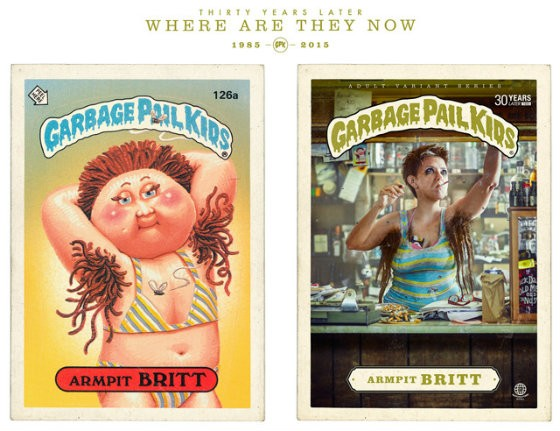 The original Armpitt Britt Garbage Pail Kid card next to Armpitt Britt 30 years later. - BRANDON VOGES/BRUTON STROUBE