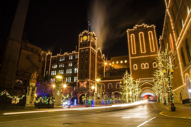 The big brewery is all dressed up for Christmas. - COURTESY AB-INBEV