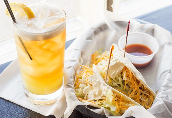 Soft tacos and a long island iced tea.