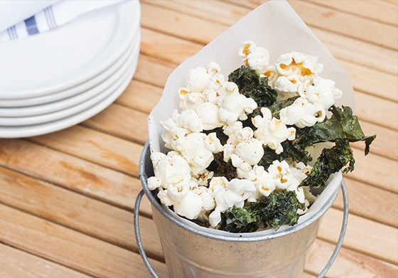 Spiced popcorn and kale chips.