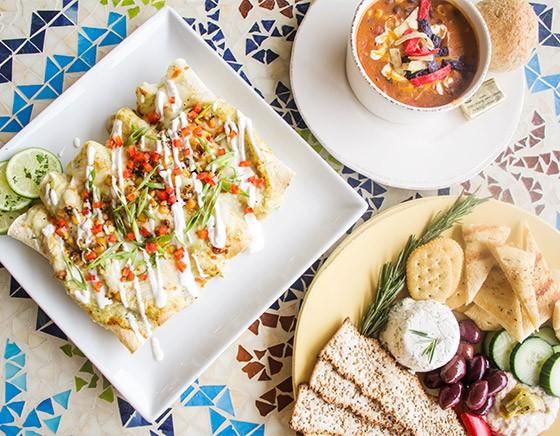 Chicken enchiladas, tortilla soup and a Mediterranean sampler. | Photos by Mabel Suen