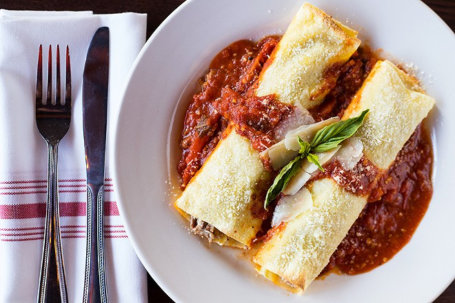 Cannelloni, smothered in sweet red sauce, is a Gianino family recipe. - MABEL SUEN