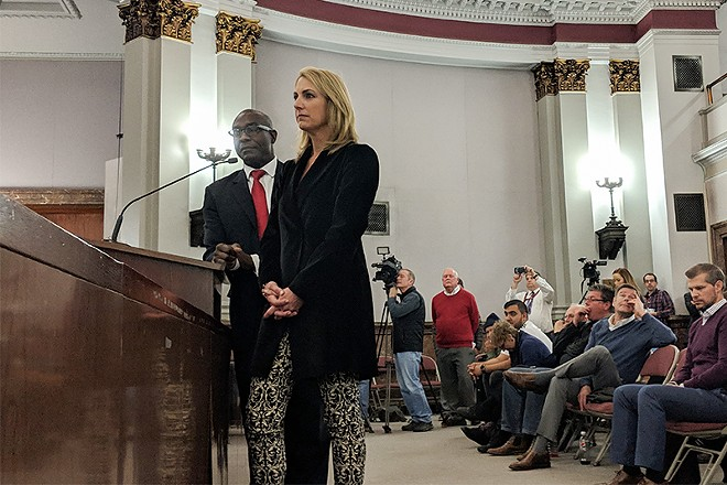 Aldermanic President Lewis Reed and Carolyn Kindle Betz, a  member of the proposed ownership group. - DANNY WICENTOWSKI