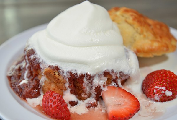 The strawberry shortcake biscuit is one of two dessert biscuits. - TOM HELLAUER