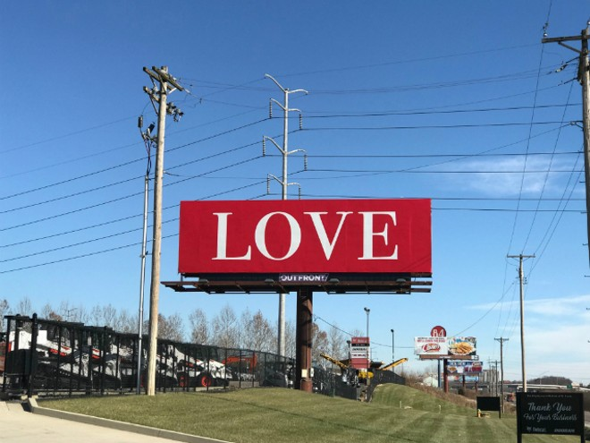 The LOVE billboard is one of seven spread across the country. - COURTESY CAROLE GLAUSER