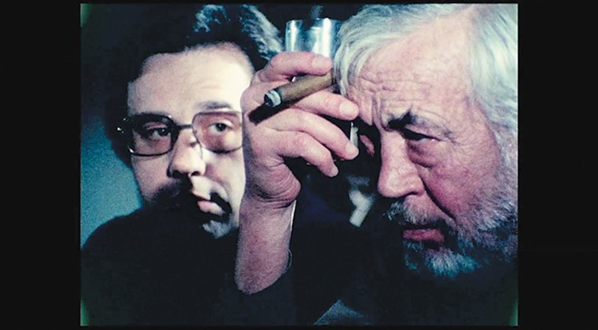 Peter Bogdanovich and John Huston in Orson Welles' magisterial The Other Side of the Wind. - COURTESY OF NETFLIX