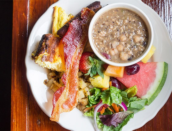 Corvid's spread includes frittata, bacon, quinoa soup, salad and fresh fruit. | Photos by Mabel Suen
