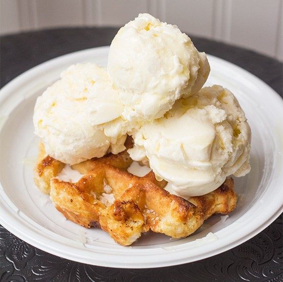 Taste of Belgium's liege waffle topped with olive-oil ice cream and sea salt. | Photos by Mabel Suen