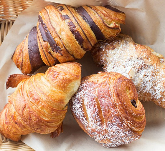 Croissants come in tiger, butter, pan au chocolate and almond options.