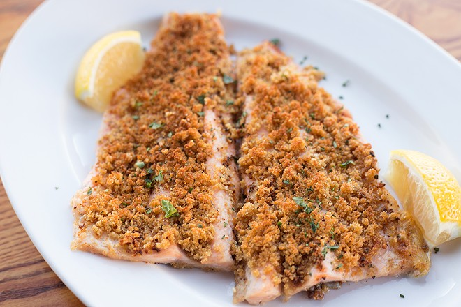 The broiled rainbow trout is topped with Lee St. breading: bread crumbs, Parmesan, garlic and parsley. - MABEL SUEN