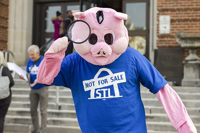 This pig has been busy enlisting local pols to commit to opposing plans to lease St. Louis' airport. - DANNY WICENTOWSKI