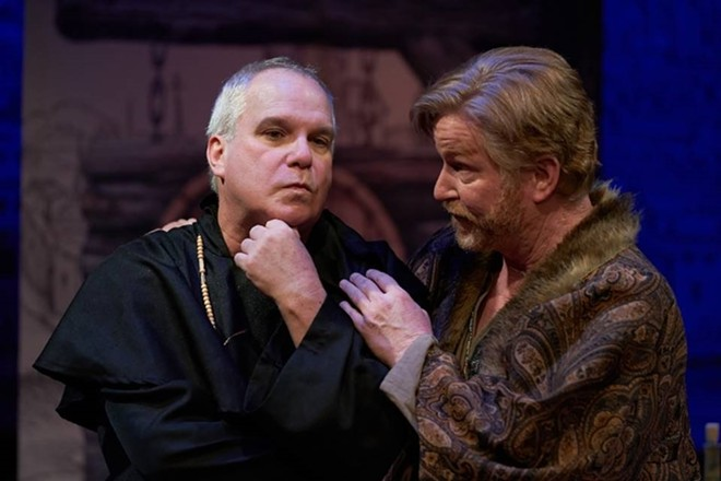 Martin Luther (Alan Knoll) complains to his frenemy Faustus (Steve Isom) about those damned indulgences. - PROPHOTOSTL.COM