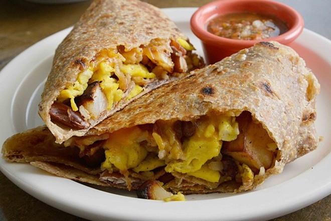 A breakfast burrito at Kitchen House Coffee's new Patch location: One of this month's bright spots. - TOM HELLAUER