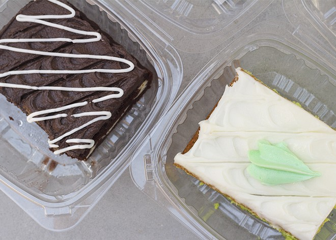Look for goodies by the slice including zebra and key-lime cakes.