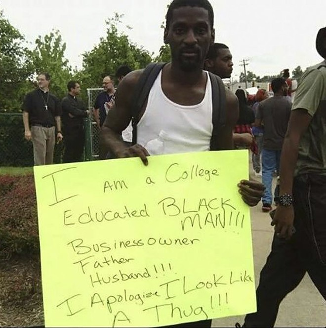 Franks in the early days of the Ferguson protests. - KATRINA HALL