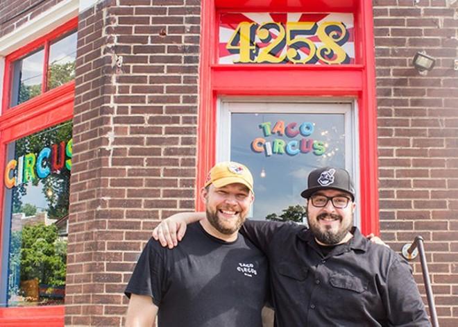 Christian Ethridge (l) with fellow Taco Circus Chef Peter Clark - MABEL SUEN